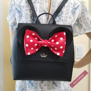 KATE SPADE MINNIE MOUSE DISNEY BLACK BACKPACK RED